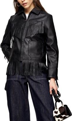 Topshop Fringe Trim Faux Leather Jacket