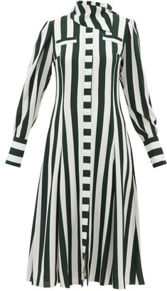 Emilia Wickstead Lucille Striped Georgette Shirt Dress - Green White