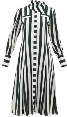Emilia Wickstead Lucille Striped Georgette Shirt Dress - Womens - Green White