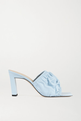 Wandler Ava Ruched Leather Mules - Sky blue