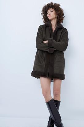 French Connection Alvira Faux Fur Reversible Coat