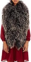 Barneys New York Women's Mongolian Fur Scarf-BLACK