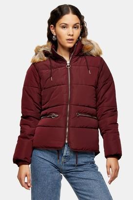 Topshop Womens Burgundy Detachable Faux Fur Hooded Padded Puffer Jacket - Burgundy