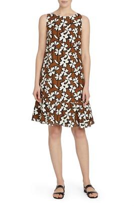 Lafayette 148 New York Wickes Ruffle Hem Floral Print Silk & Linen Dress