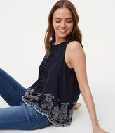LOFT Floral Embroidered Pintuck Shell