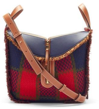 Loewe Hammock Tartan And Leather Shoulder Bag - Red Multi