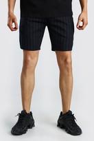 boohoo Mens Navy MAN Pinstripe Jacquard Mid Length Shorts, Navy