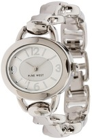 Nine West Circular Chain Watch (Silver/White) - Jewelry