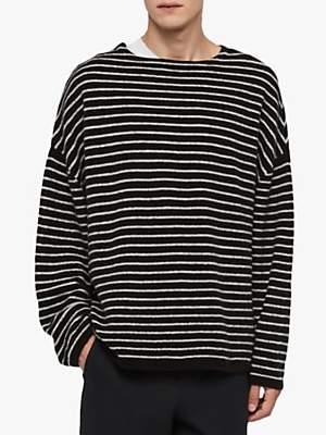 AllSaints Larik Striped Boat Neck Jumper, Black/Grey Marl