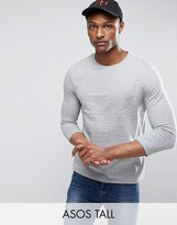 Asos TALL T-Shirt With 3/4 Length Sleeves In Gray