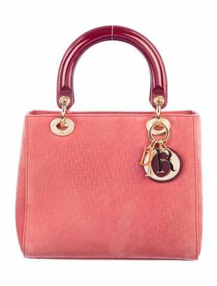 Christian Dior Medium Lady Bag w/ Strap Red