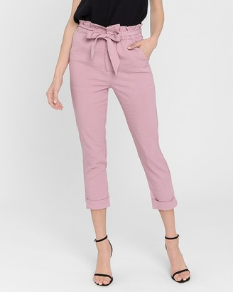 Express Endless Rose High Waisted Paperbag Cropped Pants