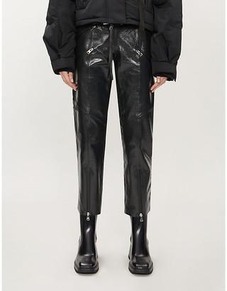 SHOREDITCH SKI CLUB Hanbury straight leather trousers