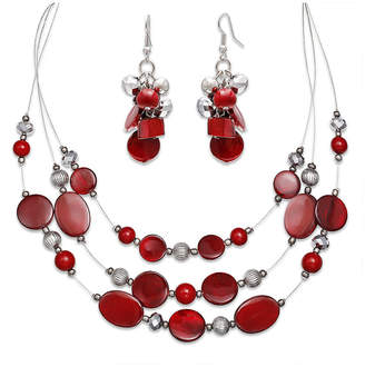MIXIT Mixit Red Bead Cluster Earring and 3-Row Illusion Necklace Set