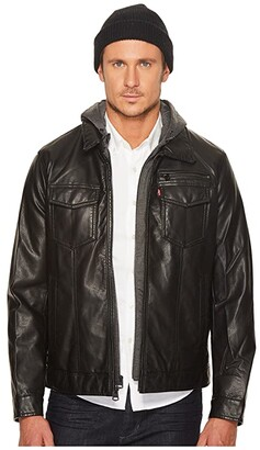 Levi's Faux Leather Trucker with Jersey Hood and Fleece Lining (Black) Men's Coat