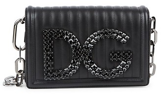 Dolce & Gabbana Jewelled Leather Crossbody Bag