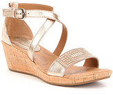 Montana Champagne Sartell Metallic Leather Studded Wedge Sandal
