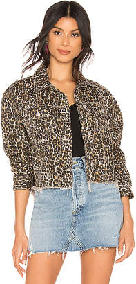 Free People Cheetah Printed Denim Jacket