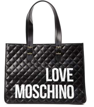 Love Moschino Black Quilted Tote Bacg In Pvc