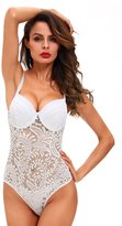 FIYOTE Women Shoulder Strap One piece Teddy Lingerie Chemise lace (S, )