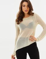 GUESS Gia Long Sleeved Asymmetrical Hem Sweater