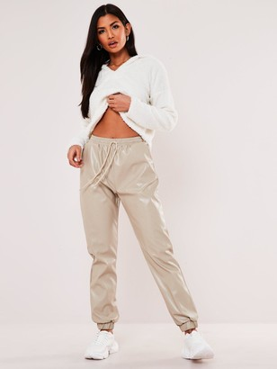 Missguided Faux Leather Jogger Trousers - Stone