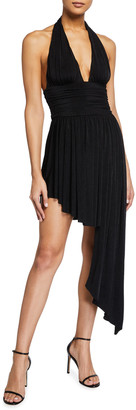 Misha Collection Caity Asymmetric High-Low Jersey Halter Dress
