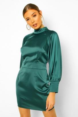 boohoo Satin High Neck Balloon Sleeve Mini Dress