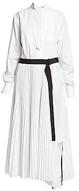 Sacai Women's Belted Plissé Shirting Midi Dress