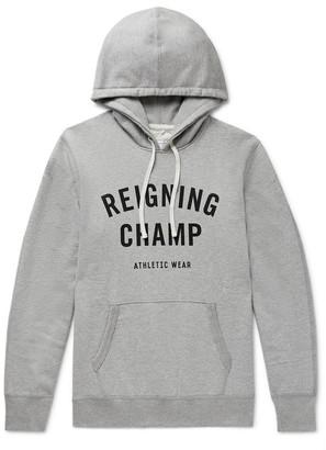 Reigning Champ Logo-Print Melange Loopback Cotton-Jersey Hoodie