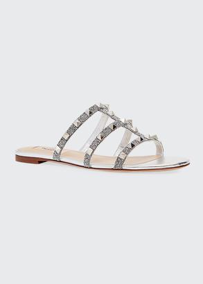 Valentino Rockstud Metallic Caged Flat Slide Sandals