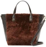 Sandro Alana Mini Leather & Lamb Fur Tote