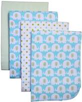 Carter's 4-Pack Cotton Flannel Receiving Blankets, Elephant