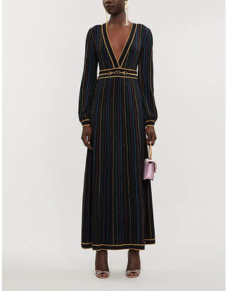 Gucci Metallic striped wool-blend maxi dress