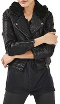 Topshop Maggie Faux Leather Biker Jacket with Hood
