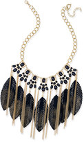 Thalia Sodi Gold-Tone Black Stone and Feather Statement Necklace, Only at Macy's