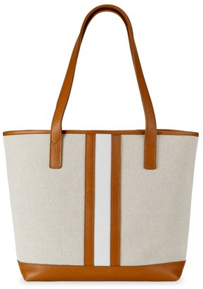GiGi New York Baja Leather-Trimmed Canvas Tote
