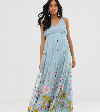 ASOS DESIGN Maternity tulle maxi dress with delicate floral embroidery and twist straps