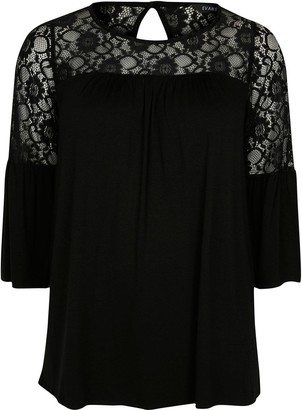 Evans Lace Yoke Jersey Top - Black