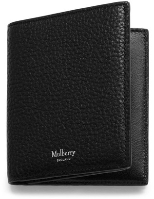 Mulberry Trifold Wallet Black Natural Grain Leather