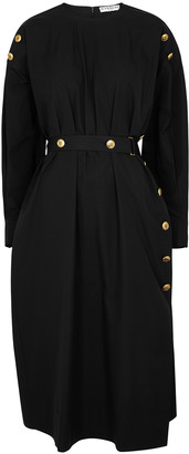 Givenchy Black belted cotton midi dress