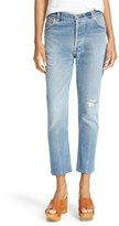 RE/DONE Women's Reconstructed High Waist Ankle Crop Jeans