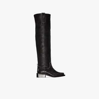Ganni Black MC 40 Knee-High Leather Boots