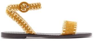 Tabitha Simmons Judy Raffia Whipstitched Suede Sandals - Womens - Tan