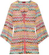 Missoni Mare Lace-up Crochet-knit Mini Dress - Orange