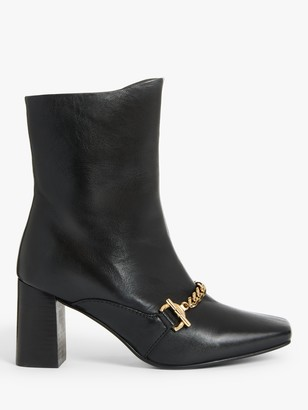 John Lewis & Partners Onyx Leather Chain Detail Boots, Black