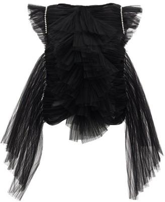 KHAITE Dionne Crystal-embellished Ruffled Tulle Top - Black