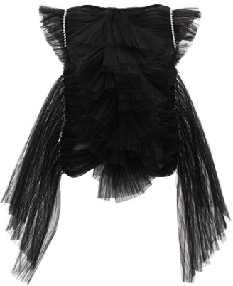 KHAITE Dionne Crystal-embellished Ruffled Tulle Top - Womens - Black