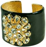 Kenneth Jay Lane Black Enamel Cuff With Clear Crystals Motif-Gorgeous!
