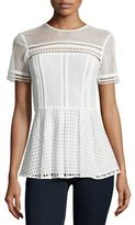 MICHAEL Michael Kors Short-Sleeve Mixed-Eyelet Blouse, Ecru